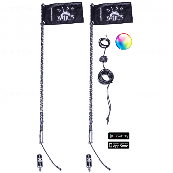 5150 Whips - TWO 3FT 187 STYLE LED 5150 WHIP