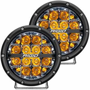 360-Series 6 Inch Led Off-Road Spot Beam Amber Backlight Pair RIGID Industries