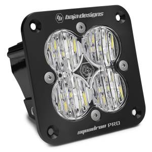 Flush Mount LED Light Pod Black Clear Lens Wide Cornering Pattern Squadron Pro Baja Designs