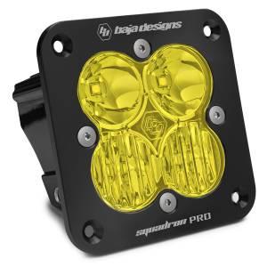 Flush Mount LED Light Pod Black Amber Lens Driving/Combo Pattern Squadron Pro Baja Designs