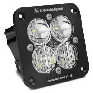 Flush Mount LED Light Pod Black Clear Lens Driving/Combo Pattern Squadron Pro Baja Designs
