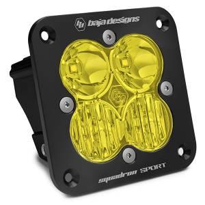 Flush Mount LED Light Pod Black Amber Lens Driving/Combo Pattern Squadron Sport Baja Designs